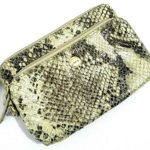 Lodis Leather Snake Reptile Print Zip Coin Wallet